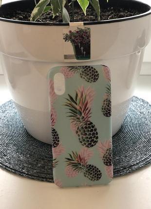 Классный силиконовый чехол бампер с ананасами яркий летний на айфон 10  х4