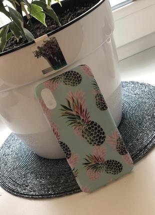Классный силиконовый чехол бампер с ананасами яркий летний на айфон 10  х5