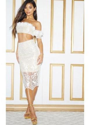 Кружевная юбка миди1