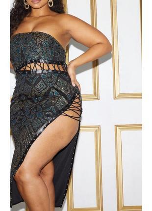 Ефектное платье миди со шнуровкой1