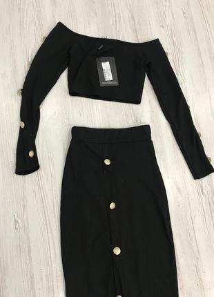 Стильный костюм кроп топ и юбка миди5