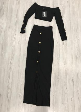 Стильный костюм кроп топ и юбка миди6