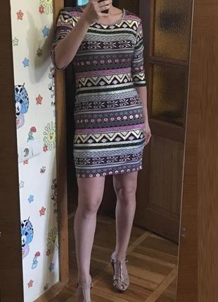 Трикотажное вечернее платье карандаш с рукавом ax paris принт стиль бохо