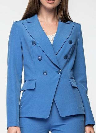 Женский двубортный приталеный голубой жакет/пиджак (42, 44, 46/3 цвета)