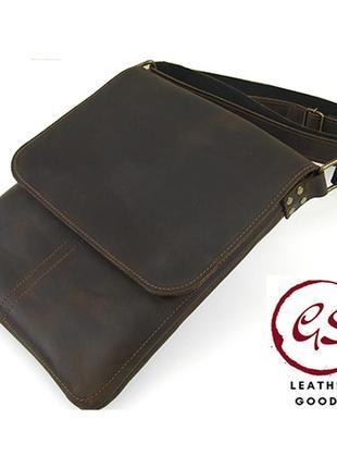 Коричневая мужская кожаная сумка планшет кожаная сумка через плечо