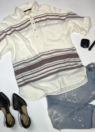 Стильная рубашка блуза вышиванка в стиле бохо этно от zara размер м/10/38.