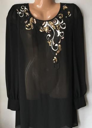 Удлиненная блуза с пайетками