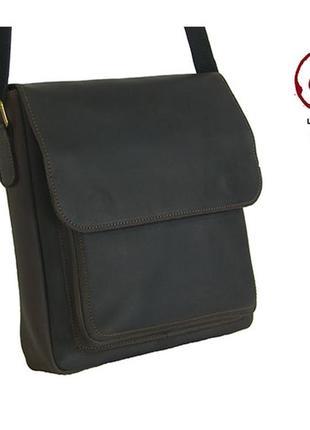 Коричневая кожаная мужская сумка через плечо повседневная мужская сумка