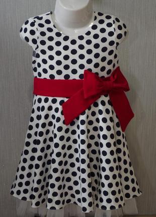 Вишукане плаття з бантом та на короткий рукав в горошок