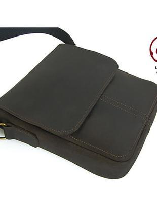 Коричневая мужская кожаная сумка повседневная мужская сумка сумка через плечо