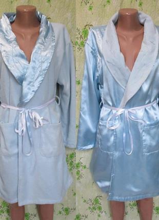 Шикарный тёплый халат двухсторонний/атласный-флисовый 44-46 размер