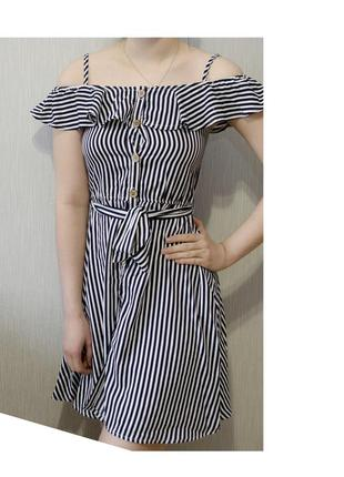 Супер крутое лёгкое платье-сарафан с воланом и поясом на пуговицах в полоску
