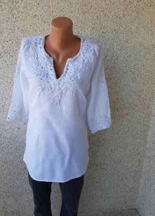 Красивая лляная туника блузка вышиванка alba moda