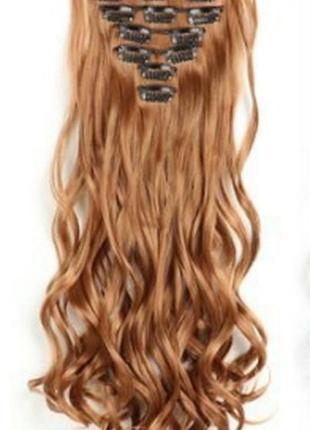 Трессы термо волнистые набор 16 клипс рыжие медные волосы на заколках