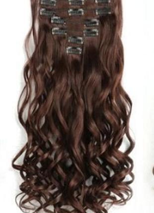 Трессы термо волнистые набор 16 клипс темно-коричневые волосы на заколках 3848