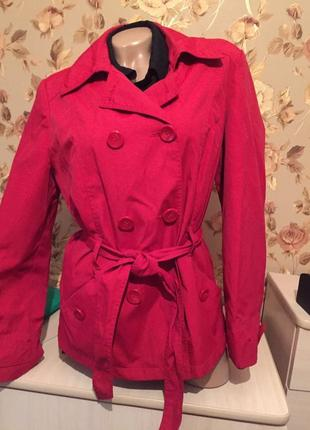 Весенний итальянский пиджак / красная куртка под пояс / пальто /ветровка