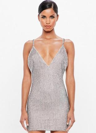 Роскошное вечернее платье мини в паетки нюдовое пудра xs 6 премиум missguided peace love