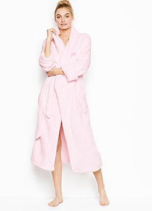 Плюшевый длинный халат victoria´s secret р. xs, s, оригинал,домашний банный