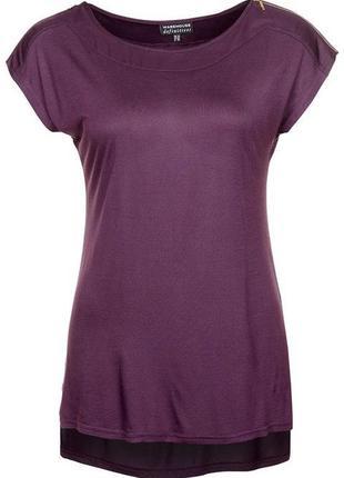 Вискозная трикотажная блуза футболка warehouse