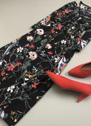 Невероятное цветочное  платье миди warehouse2 фото
