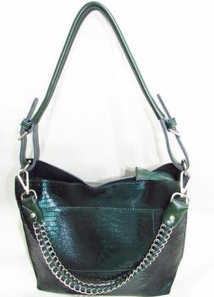 168ab4c06d8e Шикарная кожаная женская сумка изумрудная зеленая натуральная кожа италия  вместительная