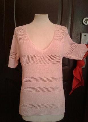 Розовая ажюрная акриловая блузка, l.