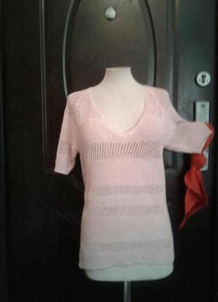 Розовая ажюрная акриловая блузка, l.2 фото