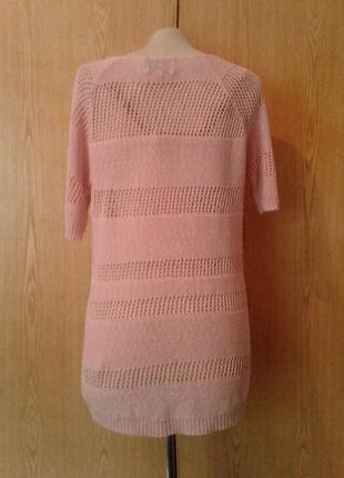 Розовая ажюрная акриловая блузка, l.3 фото