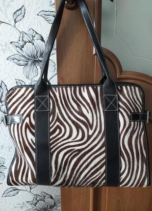 Globus кожаная сумка с вставками из натурального меха