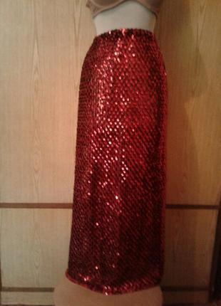 Красная юбка в паетках, l-2xl.