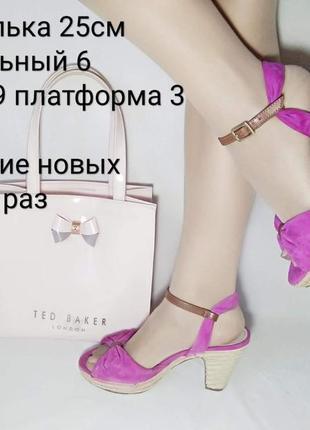 Шикарные замшевые босоножки clarks на каблуке