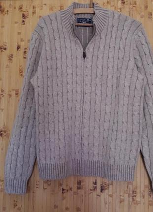 Шерстяной кашемировый свитер кардиган пуловер