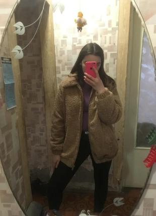 Меховая плюшевая куртка курточка пальто мишка теди коричневая бежевая