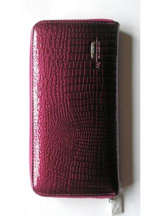 Большой кожаный лаковый кошелек-клач пурпурный, 100% натур. кожа, доставка бесплатно