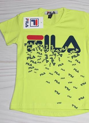 Хлопковая желтая футболка fila с надписями, турция