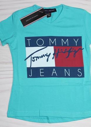 Хлопковая бирюзовая футболка tommy hilfiger, с надписями, турция
