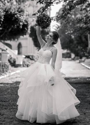 Свадебное платье на маленький рост ручная вышивка