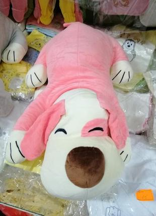 Игрушка подушка собачка розовая с пледом. подарок ребёнку