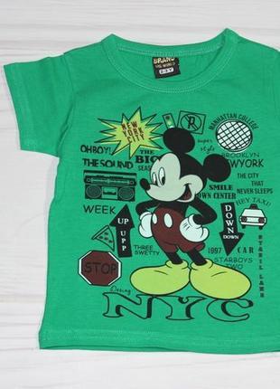 Хлопковая зеленая футболка с рисунком микки маус, турция