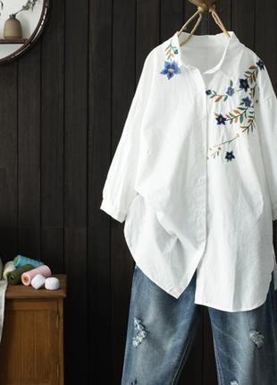 Удлиненная рубашка свободного кроя 100% хлопок
