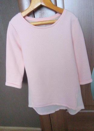 Стильна рожева блузка bsk&you на четвертний рукав з шифоновою спинкою
