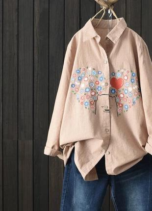 Удлиненная рубашка с вышивкой хлопок/лен