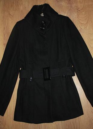 Пальто redhering черное демисезонное 38р. шерсть
