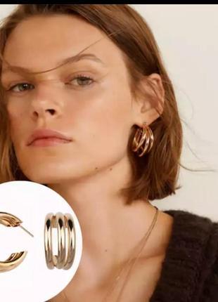 Серьги в стиле zara золото сережки2 фото