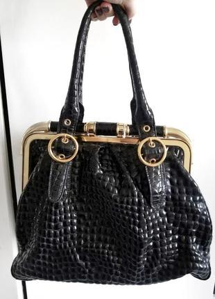 Фирменная чёрная сумка antonio biaggi под кожу крокодила
