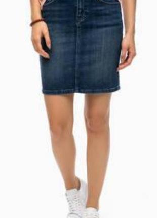 Отличная джисовая юбка базовая с потьортостями10