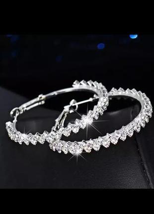 Серьги кольца серебро камни сережки