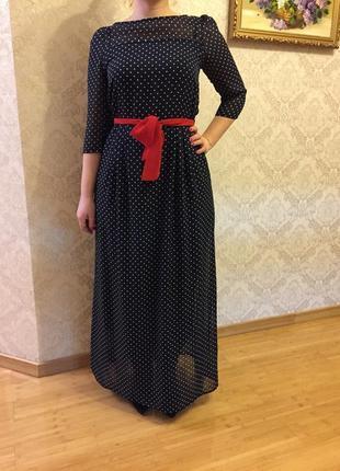 Красивое, нарядное шифоновое платье р.46