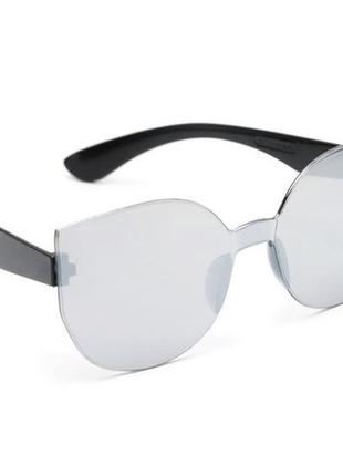 Зеркальные серебристые солнцезащитные очки женские безободковые безоправные без оправы