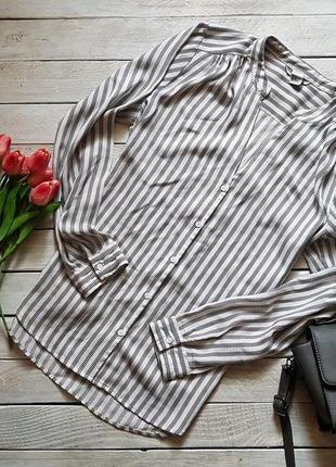 Крута базова атласна рубашка в полоску від h&m